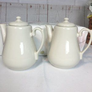 Homer Laughlin 2 Ivory Serving Teapots Tea Party